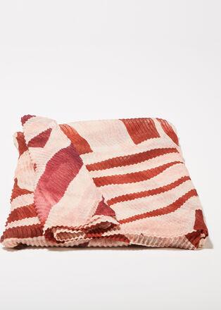 Foulard plisse bordeaux femme
