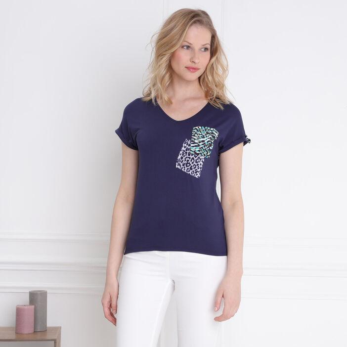 T-shirt manches courtes poche bleu foncé femme