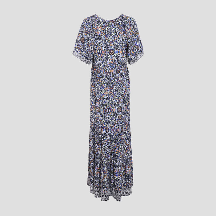 Robe longue évasée ecru femme
