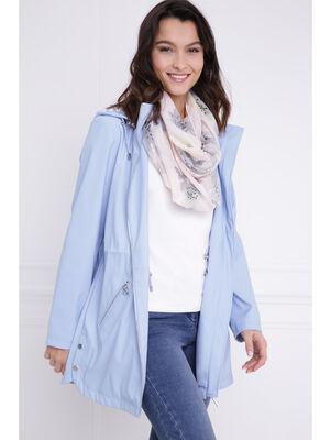 Parka longue coupe ajustee bleu gris femme