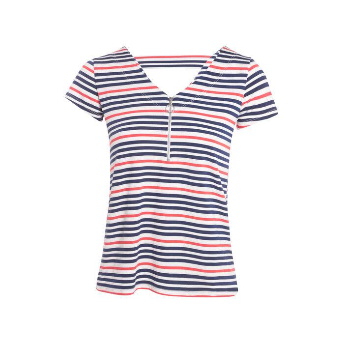 T-shirt avec zip bleu marine femme