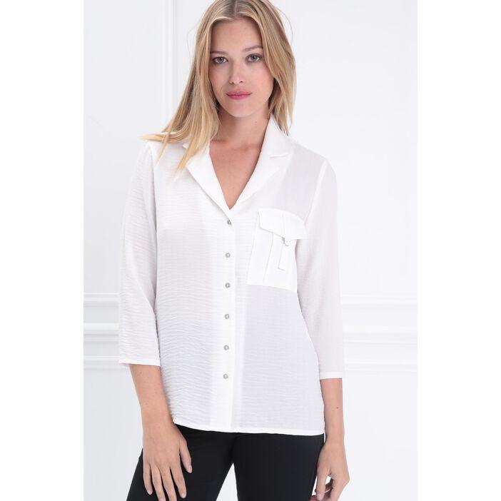 Chemise manches 3/4 à poche ecru femme