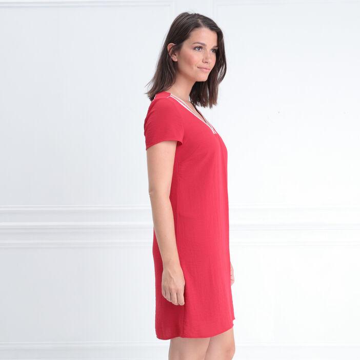 Robe manches courtes col en V rouge fluo femme