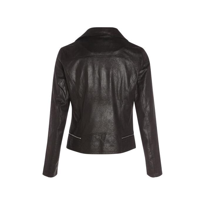 Veste esprit motard zippée noir femme