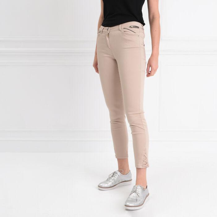 Pantalon ajusté 7/8ème beige femme