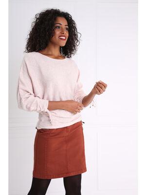 Jupe courte droite unie marron fonce femme