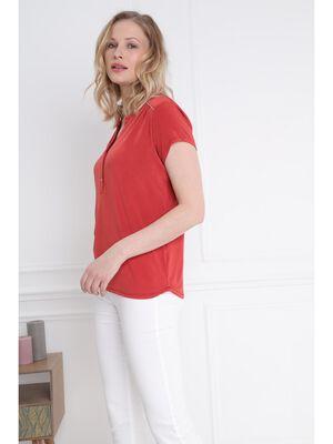 T shirt manches courtes detail col orange fonce femme