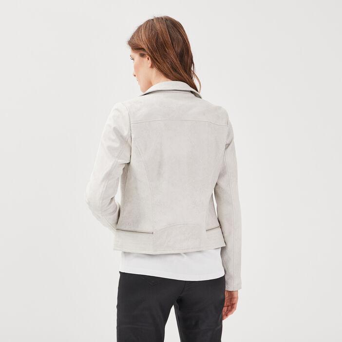 Veste esprit motard zippée gris femme