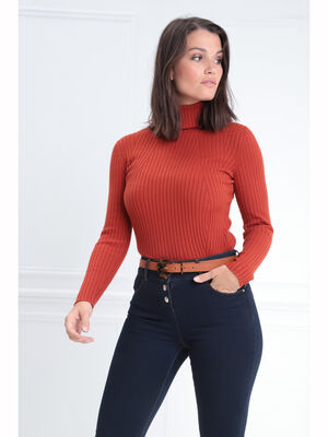 Pull manches longues col roule rouge femme