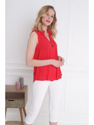 Chemise sans manches bouton col rouge femme