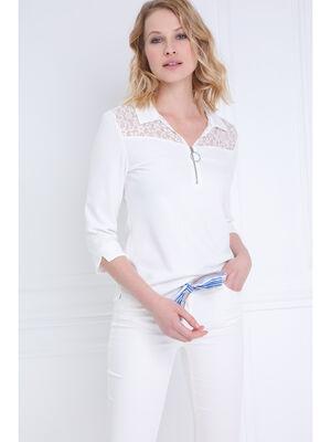 T shirt manches 34 style polo ecru femme