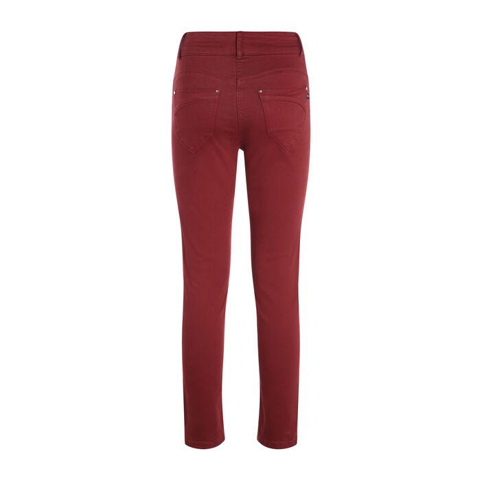 Pantalon 7/8 taille standard rouge foncé femme
