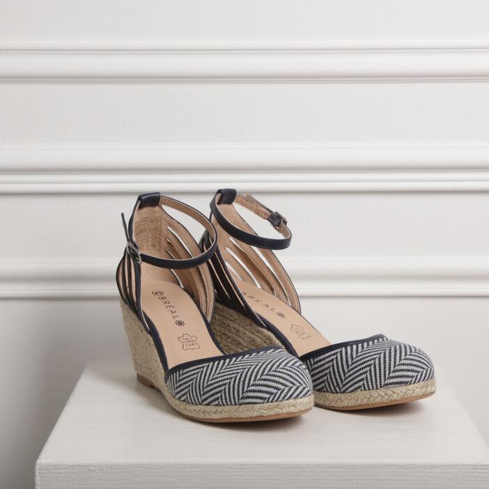 Sandales à talons compensés bleu femme