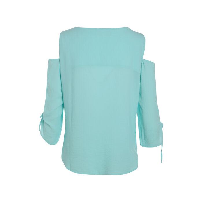 Chemise unie épaules ajourées bleu femme