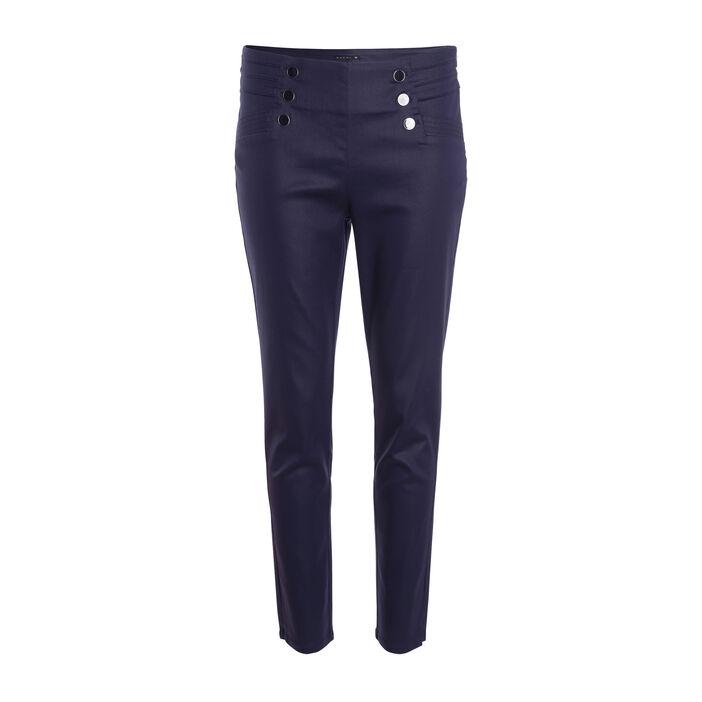 Pantalon ajusté à ponts taille basculée bleu foncé femme