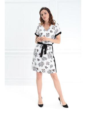 Robe droite ceinture nouee blanc femme