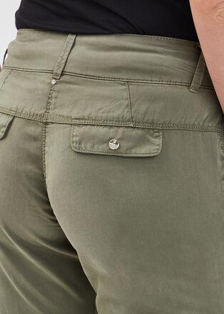 Pantalon flou taille basculee vert kaki femme