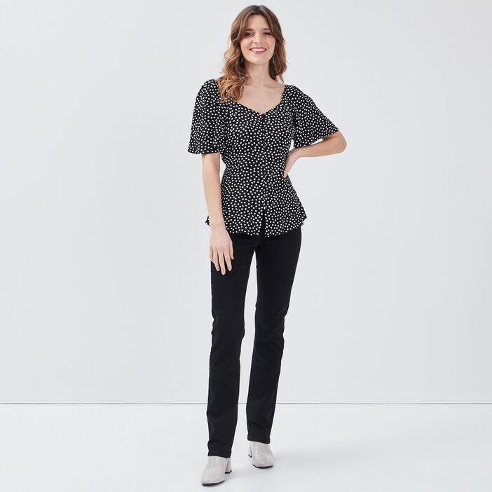 Pantalon large taille haute noir femme