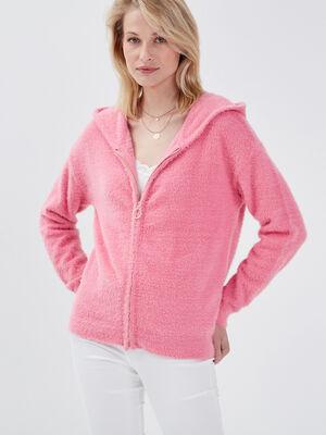 Gilet manches longues capuche rose corail femme