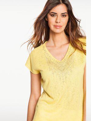 T shirt uni plastron brode jaune femme