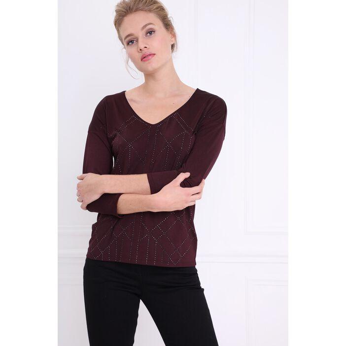 T-shirt manches 3/4 strassé prune femme