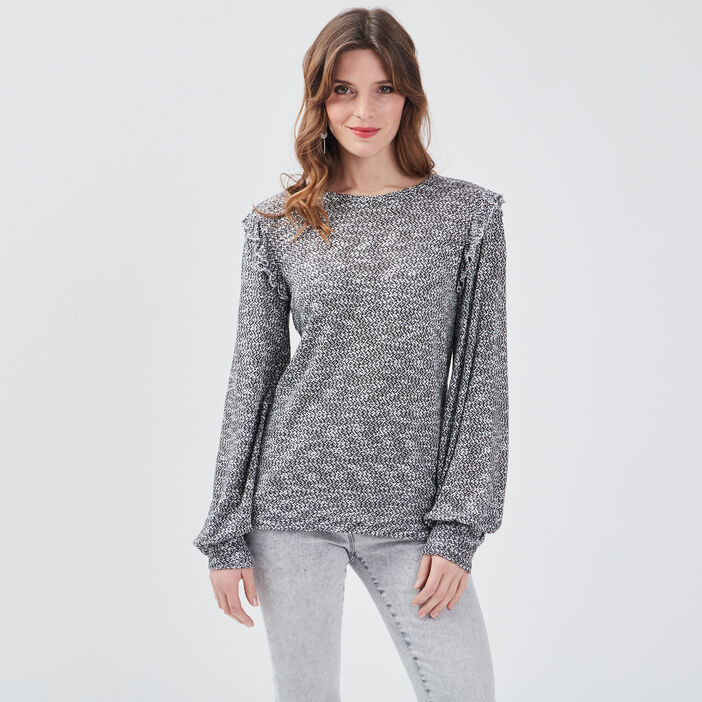 T-shirt manches longues gris foncé femme