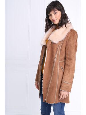 Manteau cintre fausse fourrure marron clair femme