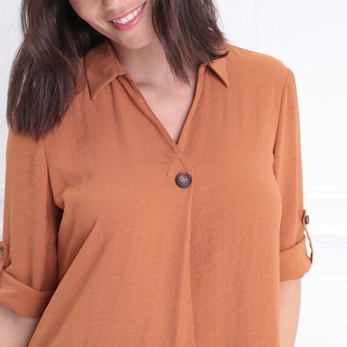 meilleurs prix original nouvelle apparence Blouse manches 3/4 boutonnées orange foncé femme | Bréal