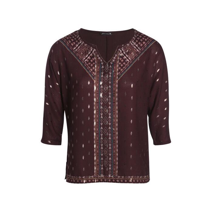 T-shirt manches 3/4 à strass marron foncé femme