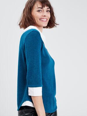 T shirt manches 34 bleu petrole femme