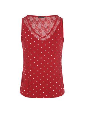 T shirt col rond a pois sans manche rouge femme