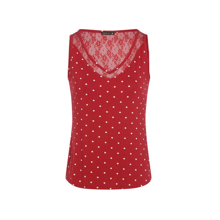T-shirt col rond à pois sans manche rouge femme