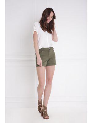 Short uni detail ceinture vert kaki femme