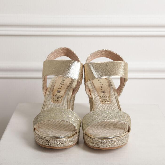 Sandales à talon compensé irisées couleur or femme