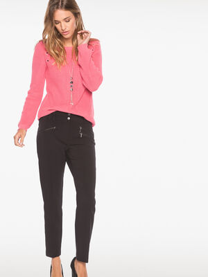 Pantalon 78e poches zippees noir femme