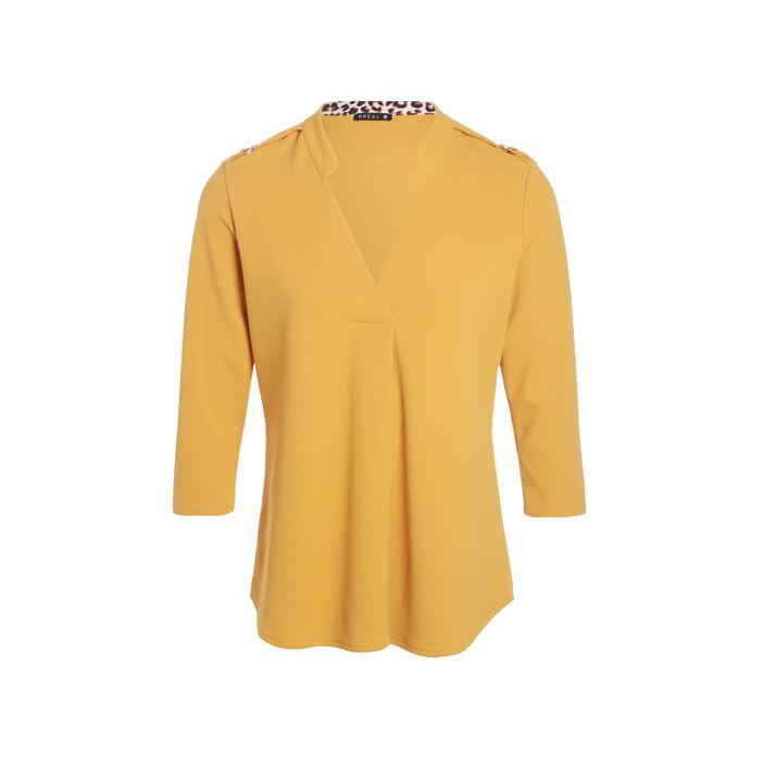 T-shirt manches 3/4 col V jaune or femme