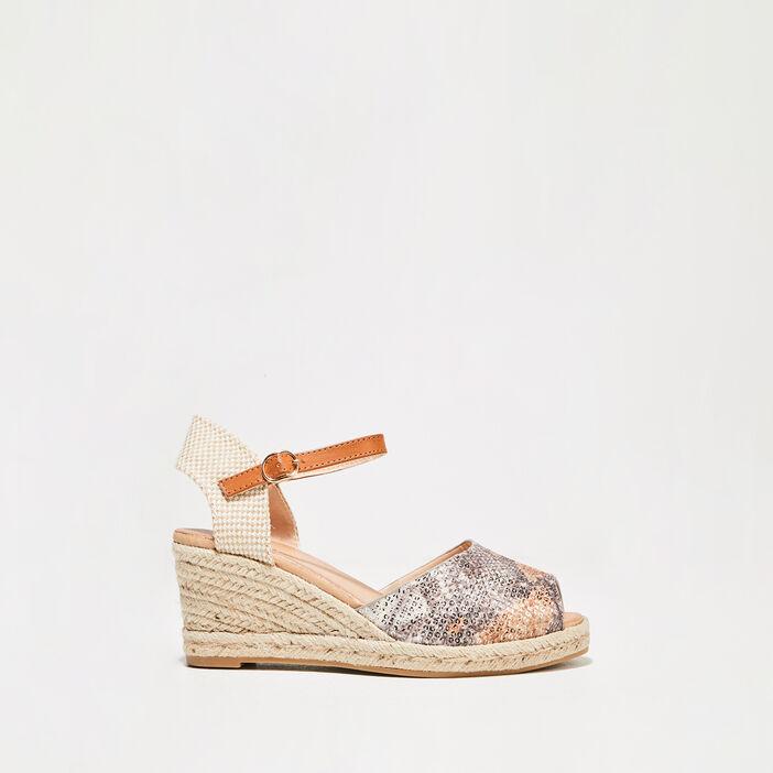 Sandales à talons compensés gris femme
