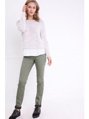 Pantalon ajuste push up vert kaki femme