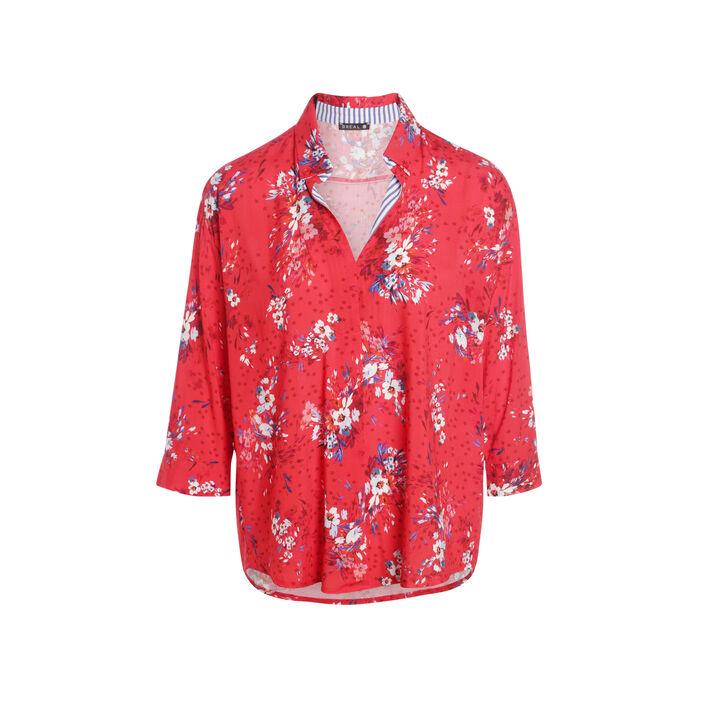 Chemise col français motif floral rouge femme