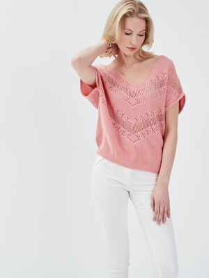 Pull manches courtes rose corail femme