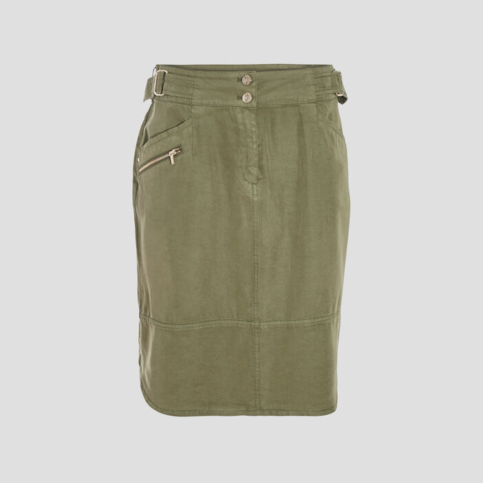 Jupe droite avec boucles vert kaki femme
