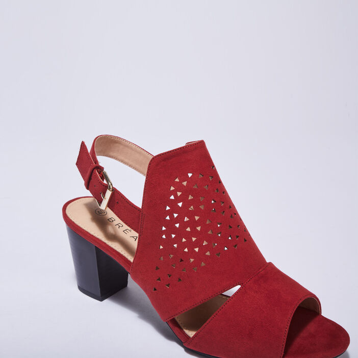 Sandales à talons perforées rouge foncé femme