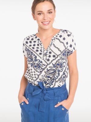 Chemise col a lacage motif patchwork blanc femme