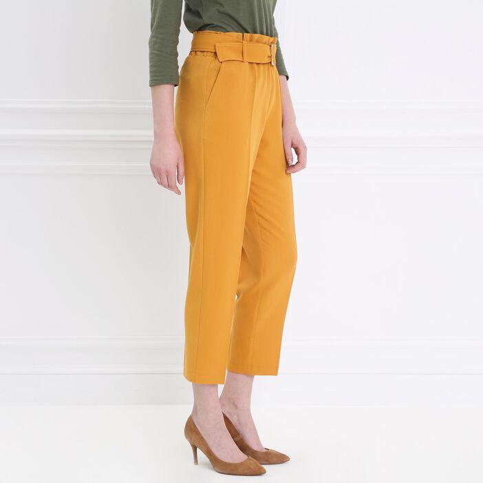 Pantalon taille haute fluide jaune or femme