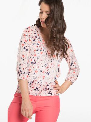 Blouse imprime fleuri rose poudree femme