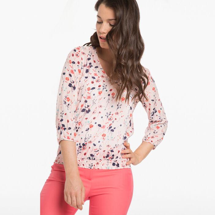 Blouse imprimé fleuri rose poudrée femme