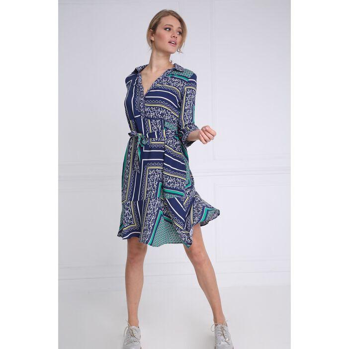 37f688d603a Robe courte évasée à ceinture bleu marine femme femme