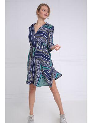 Robe imprimee longueur genoux bleu marine femme