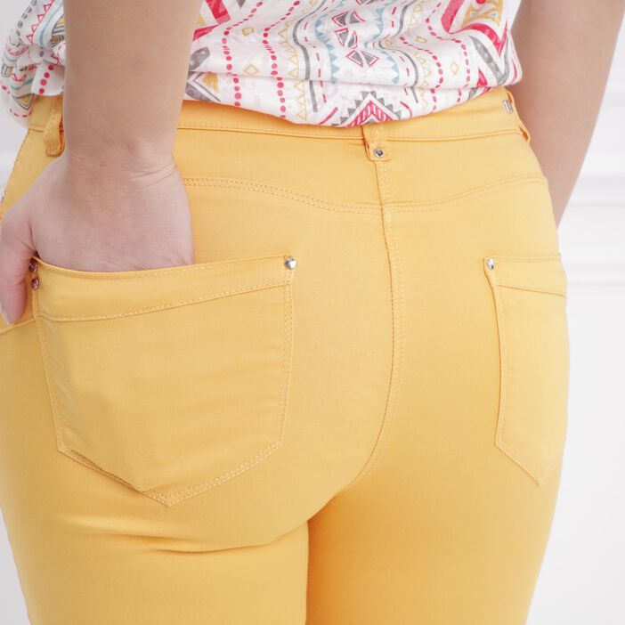 Pantalon 7/8 satin jaune moutarde femme