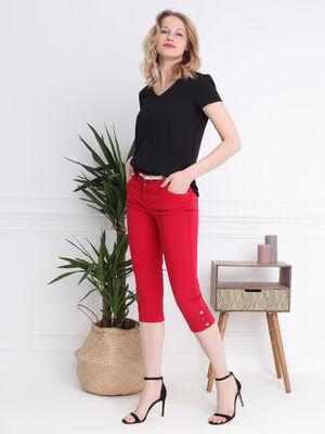 Pantacourt corsaire ajuste rouge femme
